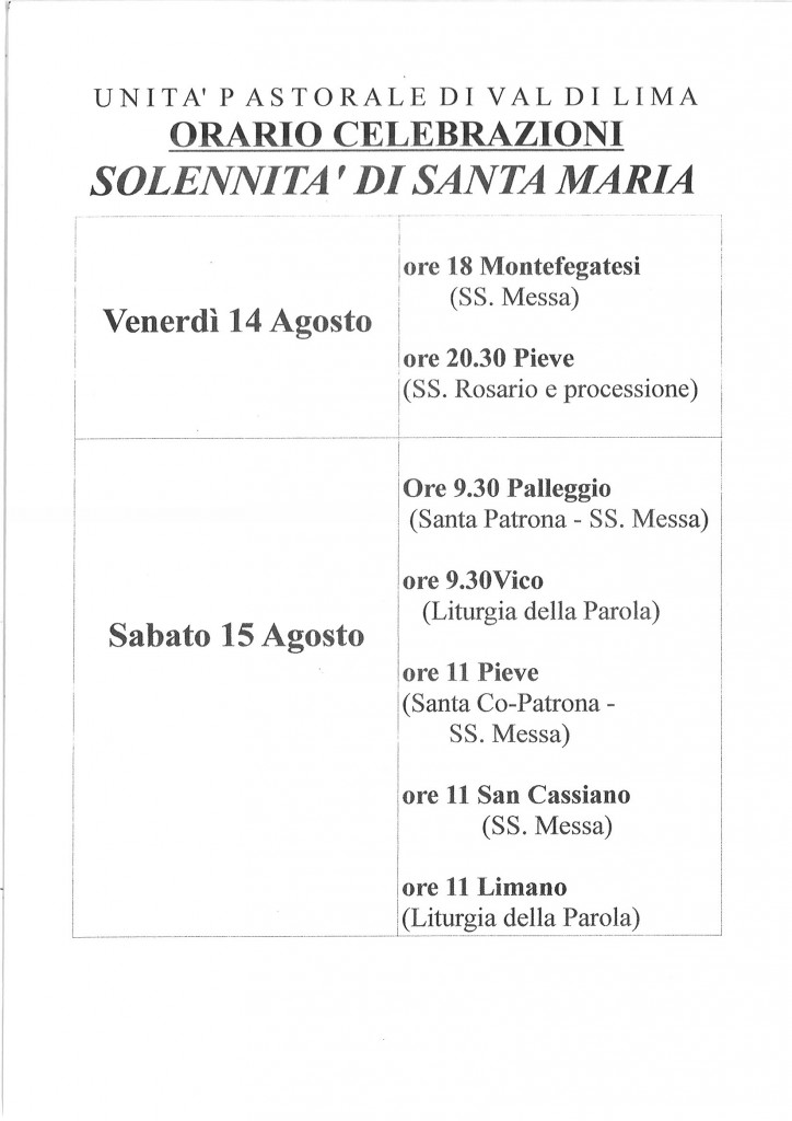 orario messe Santa Maria